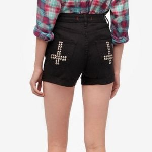 UO BDG Sz 27 High rise black denim studded shorts